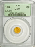 California Fractional Gold, 1852 50C Indian Octagonal 50 Cents, BG-962, Low R.7, MS65 PCGS....