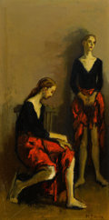 Fine Art - Painting, American:Modern  (1900 1949)  , MOSES SOYER (American, 1899-1974). Dancers Resting. Oil oncanvas. 20 x 10-1/4 inches (50.8 x 26.0 cm). Signed lower rig...