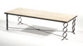 """Furniture : French, JEAN ROYERE. A Wrought Iron and Travertine """"Ruban"""" Coffee Table,circa 1948. 13 x 50 x 20 inches (33.0 x 127 x 50.8 cm). ..."""