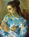 Fine Art - Painting, American:Modern  (1900 1949)  , MOSES SOYER (American, 1899-1974). Girl with Flower Shirt.Oil on canvas. 20 x 16 inches (50.8 x 40.6 cm). Signed upper ...