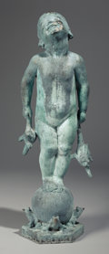 Fine Art - Sculpture, American:Modern (1900 - 1949), EDITH BARRETTO STEVENS PARSONS (American, 1878-1956). Frog Baby(Fountain). Bronze with green verdigris. 39-1/2 inches (...