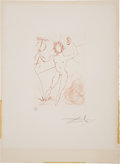 "Autographs:Artists, Salvador Dali Dry Point Etching Signed. One page, 11"" x 15"", n.d. The untitled, limited edition, dry point etching is o..."