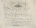 "Autographs:U.S. Presidents, Abraham Lincoln Document Signed, together with Andrew JohnsonDocument Signed (Stamped). (1) ""Abraham Lincoln""signature... (Total: 2 Items)"
