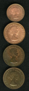 Australia: , Australia: Elizabeth II - Proof Quartet, Penny 1955 Melbourne, Penny 1959 Perth, and Half Penny and Penny 1963 Perth, lightly dipped at... (Total: 4 Coins Item)