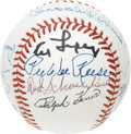 Autographs:Baseballs, Hall of Famers Multi-Signed Baseball. Nine Hall of Famers joinforces on this OAL (Brown) ball in bold (9+/10) ink and mark...
