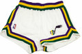 Basketball Collectibles:Uniforms, John Stockton Game Worn Shorts. The Utah Jazz point guard wizardJohn Stockton dazzled fans of Jerry Sloan's offense with h...