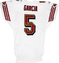 Football Collectibles:Balls, 2003 Jeff Garcia Signed Game-Issue Jersey. Beautiful 2003 white mesh San Francisco 49ers game-issued Jeff Garcia jersey h...