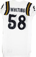 Football Collectibles:Uniforms, Circa 2000 UCLA Game Worn Doug Whiting Jersey. White Adidas gamer from circa 2000 was worn by the Bruins by their big defen...