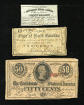 Confederate Notes:Group Lots, Mixed Lot of Civil War Era Notes.. ... (Total: 3 notes)
