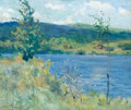 Fine Art - Painting, American:Modern  (1900 1949)  , CORWIN KNAPP LINSON (American, 1864-1934). Tivoli Lake,1935. Oil on board. 10 x 11-3/4 inches (25.4 x 29.8 cm). Signed ...