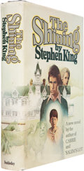 """Books:First Editions, Stephen King. The Shining. Garden City: Doubleday, 1977..First edition (code """"R49"""" in the gutter on page 447). Oc..."""
