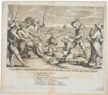 Antiques:Posters & Prints, Copperplate Engraving of Monks Being Beheaded by Abyssinians. 14.5x 12.5 inches. This exceptional double-page copper engrav...