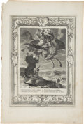 """Antiques:Posters & Prints, Bernard Picart Engraving """"Bellerphon Fights the Chimaera"""". Plate imprint 10 x 14 inches, overall 12 x 18 inches. The paper h..."""