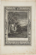 """Antiques:Posters & Prints, Bernard Picart Engraving """"Tithonus, Aurora's Husband, Turn'd Into a Grass-hopper"""". Plate imprint 10 x 14 inches, overall 12 ..."""
