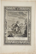 """Antiques:Posters & Prints, Bernard Picart Engraving """"Arion Preserved by a Dolphin"""". Plateimprint 10 x 14 inches, overall 12 x 18 inches. The paper has..."""