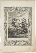 """Antiques:Posters & Prints, Bernard Picart Engraving """"Hercules's Combat With the Hydra"""". Plateimprint 10 x 14 inches, overall 12 x 18 inches. The paper..."""