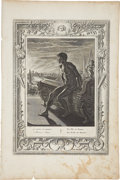 """Antiques:Posters & Prints, Bernard Picart Engraving """"Memnon's Statue"""". Plate imprint 10 x 14inches, overall 12 x 18 inches. The paper has toned, espec..."""