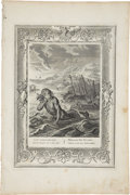 """Antiques:Posters & Prints, Bernard Picart Engraving """"Glaucus Changed Into a Sea-God"""". Plate imprint 10 x 14 inches, overall 12 x 18 inches. The paper h..."""