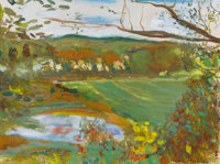 JANE FREILICHER (American, b. 1924) Landscape with Pond Gouache, watercolor, and graphite on paper