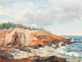 Fine Art - Painting, American:Contemporary   (1950 to present)  , ARNOLD WARBURTON LAHEE (American, 1888-1976) . Rocky Coast,1953. Oil on canvas laid on board. 12-1/4 x 16-1/4 inches (3...