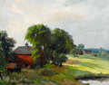 Fine Art - Painting, American:Modern  (1900 1949)  , JACOB I. GREENLEAF (American, 1887-1968). Intervale Farm(Concord, Mass), 1942. Oil on artist's board. 14 x 18 inches(3...