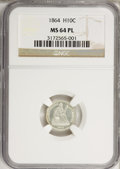 Seated Half Dimes, 1864 H10C MS64 Prooflike NGC....