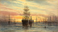Fine Art - Work on Paper:Watercolor, PROPERTY OF A PRIVATE TEXAS COLLECTOR. THOMAS MORAN (American,1837-1926). Harbor Scene, 1885. Watercolor on paper. 6-...