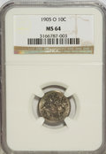 Barber Dimes: , 1905-O 10C MS64 NGC. NGC Census: (44/23). PCGS Population (22/38).Mintage: 3,400,000. Numismedia Wsl. Price for NGC/PCGS c...