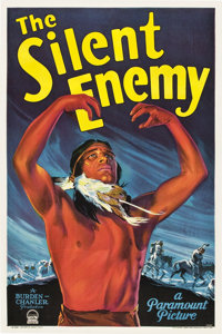 """The Silent Enemy (Paramount, 1930). One Sheet (27"""" X 41""""), Program (9"""" X 12""""), and Broadside (11&quo..."""