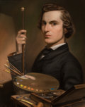 Fine Art - Work on Paper:Drawing, WILLIAM J. HINCHEY (American, 1829-1893). Self Portrait,1839. Pastel on paper. 24 x 18-1/2 inches (61.0 x 47.0 cm) wind...