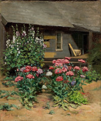 EDITH HOWES (American, 20th Century) Garden in Bloom Oil on canvas 17 x 14 inches (43.2 x 35.6 cm