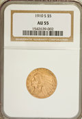 Indian Half Eagles: , 1910-S $5 AU55 NGC. NGC Census: (150/557). PCGS Population(88/256). Mintage: 770,200. Numismedia Wsl. Price for NGC/PCGS c...