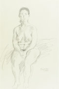 Fine Art - Painting, American:Modern  (1900 1949)  , RAPHAEL SOYER (American, 1899-1987). Seated Nude. Pencil onpaper. 19-3/4 x 12-3/4 inches (50.2 x 32.4 cm). Signed lower...