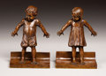 Fine Art - Sculpture, American:Modern (1900 - 1949), ABASTENIA SAINT LEGER EBERLE (American, 1878-1942). Hide and Seek (Bookends), 1911. Bronze. 6-3/4 inches (17.0 cm) high,... (Total: 2 Items)