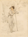 Fine Art - Painting, American:Antique  (Pre 1900), GEORGE HENRY BOUGHTON (American, 1833-1905). Portrait of a YoungMan. Graphite and watercolor on paper. 8-1/2 x 6-1/2 in...(Total: 3 Items)