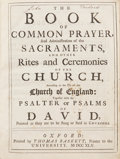 Books:First Editions, The Book of Common Prayer [Bound with:] [Psalter]. TheWhole Book of Psalms. 1745 and 1748. Octavo. Full red...