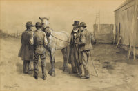 EDGAR TAYLOR (American, b. 1862) The Horse Traders, 1893 Gouache en grisaille on paper 19 x 21-1/4 inches (48.3 x