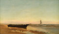 Fine Art - Painting, American:Modern  (1900 1949)  , WARREN W. SHEPPARD (American, 1858-1937). Shipwreck on the Beachat Sunrise. Oil on canvas. 14 x 24-1/4 inches (35.6 x 6...