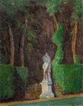 Fine Art - Painting, American:Modern  (1900 1949)  , ERNEST CLIFFORD PEIXOTTO (American, 1869-1940). View of theGarden. Oil on canvas. 32 x 25 inches (81.3 x 63.5 cm). ...