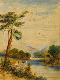 Fine Art - Painting, American:Antique  (Pre 1900), Attributed to THOMAS WORTHINGTON WHITTREDGE (American, 1820-1910).River Landscape. Watercolor on paper. 12-3/4 x 9-3/4 ...