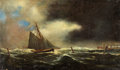 Fine Art - Painting, American:Antique  (Pre 1900), ERNEST HAMLIN BAKER (American, 1889-1975). Seascape, 1872.Oil on canvas. 14 x 24 inches (35.6 x 61.0 cm). Signed and da...