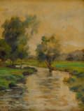 Fine Art - Painting, American:Modern  (1900 1949)  , LOUIS ASTON KNIGHT (American, 1873-1948). Meandering Stream.Oil on panel. 13 x 10 inches (33.0 x 25.4 cm). Signed lower...