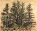 Works on Paper, HENRY VARNUM POOR (American, 1888-1970). Larch Trees. Ink wash and pastel on rice paper. 23 x 26 inches (58.4 x 66.0 cm)...