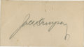 Autographs:Index Cards, Jack Dempsey Signed Business Card....