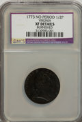 1773 1/2P Virginia Halfpenny, No Period--Burnished--NCS. XF Details. NGC Census: (0/0). PCGS Population (7/61). (#243)...