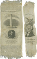 "Autographs:Statesmen, [George Washington] Two Commemorative Ribbons. Both 7"". One with anangel placing a wreath on Washington's head; the other h... (Total:2 Items)"