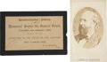 "Autographs:U.S. Presidents, [Ulysses S. Grant] Funeral Card, black-bordered, 4.5"" x 3"",admitting one to ""Westminster Abbey./ Memorial Service for...(Total: 2 Items)"