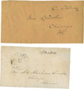 Autographs:U.S. Presidents, [Mary Todd Lincoln] Two Address Panels Addressed to Mary LincolnFrom Gideon Welles and Charles Sumner, With Franking Signatur...(Total: 2 Items)