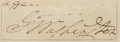 "Autographs:U.S. Presidents, George Washington Clipped Signature ""G:o Washington"" on an irregularly cut slip of paper, 3.25"" x 1"". One word from the ..."