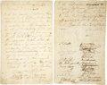 "Autographs:Statesmen, [Maryland] Yellow Fever Document. Three pages, 7.5"" x 12.25"",ca. 1793, likely written in Baltimore to Governor ThomasS..."